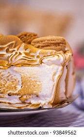 macro shot of a Norwegian omelette (or Baked Alaska) cake