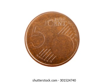 Macro shot of an old used five cents Euro coin isolated on white