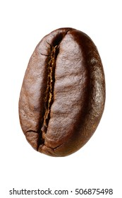 Macro shot of one coffee bean isolated on white background with clipping path