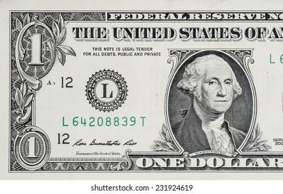 Macro shot of one dollar bill