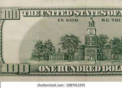 Macro shot of one hundred dollars bill