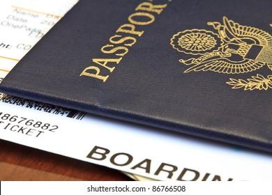 Macro shot of passport and boarding pass