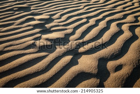 Macro shot of patterns in the sand dunes at Pismo beach, Nipomo