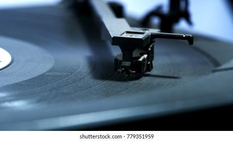 Macro Shot of Phonograph Needle on Vinyl Record