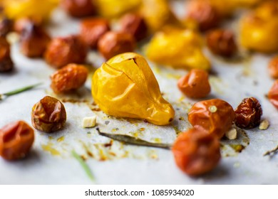 Macro shot of roasted yellow tomato