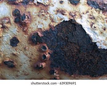 A macro shot of a rusty metallic surface