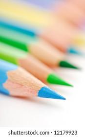 Macro shot of sharp blue pencil