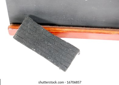 Macro shot of a small blackboard and eraser