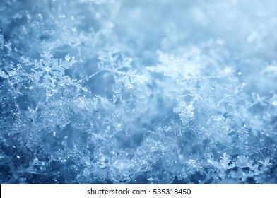 Macro shot from Snowflake. Abstract winter background.