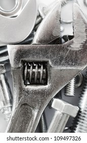 Macro shot of a spanner, nuts and bolts useful as a background