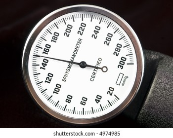macro shot of a sphygmomanometer guage showing high blood pressure