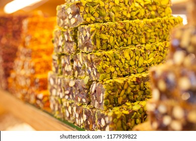 Macro shot of Turkish delight with pistachio.