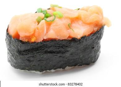 macro shot of uni,sea urchin roll, gunkan on white background