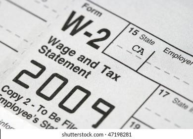 Macro shot of a W-2 Tax statement.