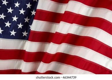 macro shot of wavy American flag