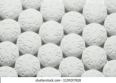 Macro shot of white aspirin pills