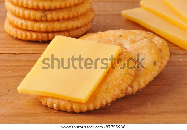 Macro Shot Whole Wheat Cracker Cheese Stock Image Download Now
