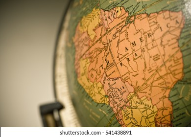 Macro shot of wold globe, with focus on South America and the Amazon River