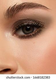 Macro shot of woman's beautiful eye with extremely long eyelashes. Sexy view smoky eyes, sensual look. Female eye with long eyelashes
