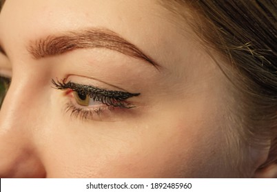 Macro shot of woman's face with beautiful eye with eyelashes, eyebrow and nose and some wrinkles around the eye