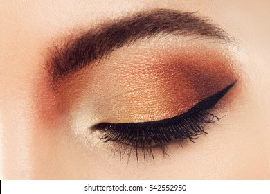 Macro Shot of Young European Woman's Beautiful Eye. Elegance CloseUp of Female Eye with Classic MakeUp and Liner. Beauty, Cosmetics and Make up. Brown Eyeshadow on Eyelid