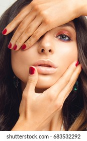 Macro Shot of Young European Woman's Beautiful Eye. Elegance CloseUp of Female Eye with Classic MakeUp and Liner. Beauty, Cosmetics and Makeup. Brown Eyeshadow on Eyelid