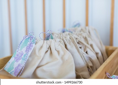 Macro shots of canvass cute party bags for children or adults