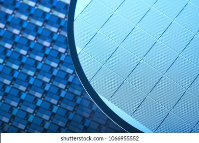 Macro of Silicon wafers.