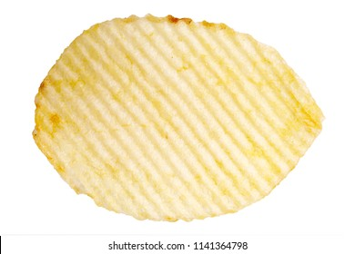 macro of single potato chip isolated on white