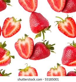 Macro sliced strawberries isolated over white background seamless wallpaper