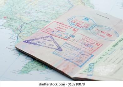Macro of stamps in passport