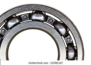 Macro steel ball bearing  isolated on white background
