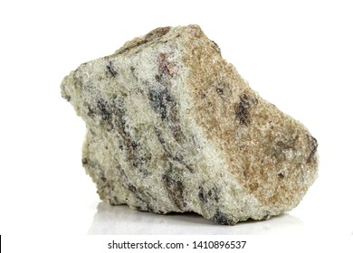 Macro stone Apatite mineral on white background close up