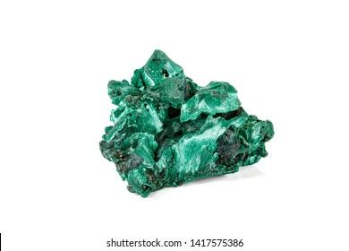 Macro stone Malachite mineral on white background close up