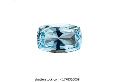 macro stone mineral faceted aquamarine on a white background close-up