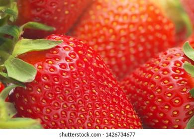 Macro of strawberry. Shallow depth-of-field.