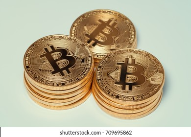 macro three bitcoin stacks. virtual cryptocurrency concept