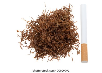 Macro of tobacco and a cigarette isolated on a white background