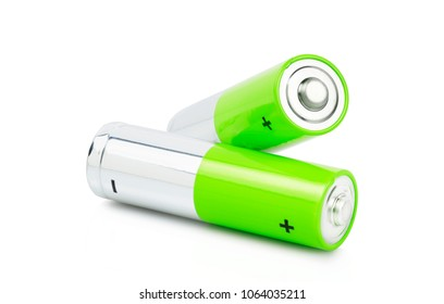 macro of two green batteries isolated on white