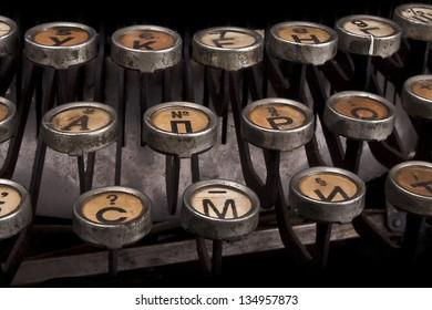 Macro typewriter keys - old vintage keyboard close up shot