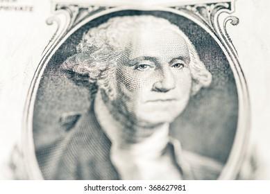 Macro view of 1 dollar bill. Closeup on 1 dollar banknote.