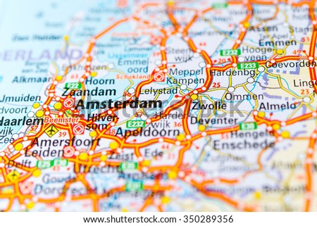 Macro View Amsterdam Netherlands On Map Stock Photo (Edit Now ...