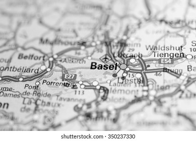 Macro view of Basel, Switzerland on map. (black and white)