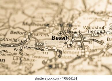 Macro view of Basel, Switzerland on map.