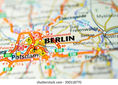Macro view of Berlin, Germany on map.