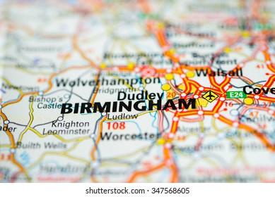 Macro view of Birmingham, United Kingdom on map.