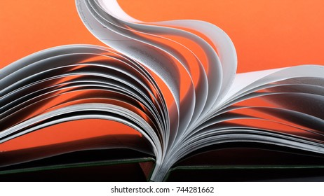Macro view of book pages. Concept passion and fire