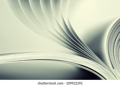 Macro view of book pages. Toned