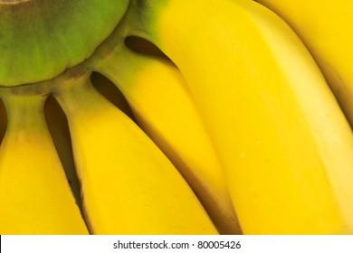 Macro view of a bunch of bananas