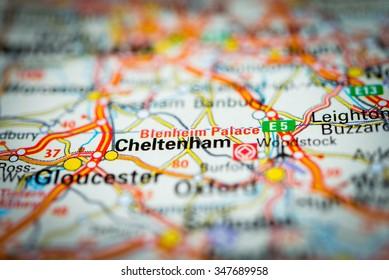 Macro view of Cheltenham, United Kingdom on map. (vignette)
